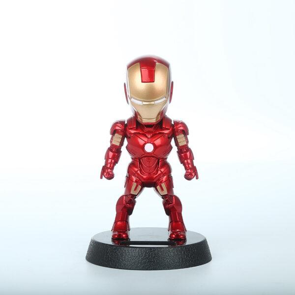 2017 Q Version Action Figure Superhero Iron Man PVC Figure Solar Energy Shake head Toy 12cm Chritmas Gift Toys 2