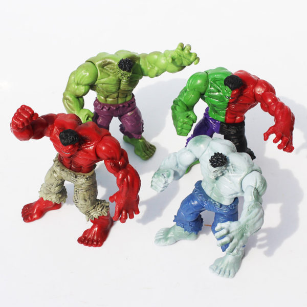 Hulk Action Figure Set 4 pcs Green, Red, Gray and Compound 1