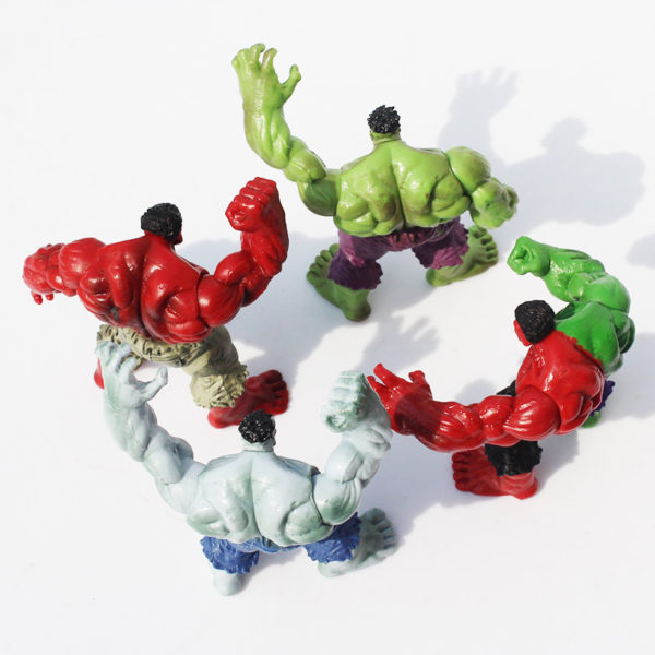 Hulk Action Figure Set 4 pcs Green, Red, Gray and Compound 2