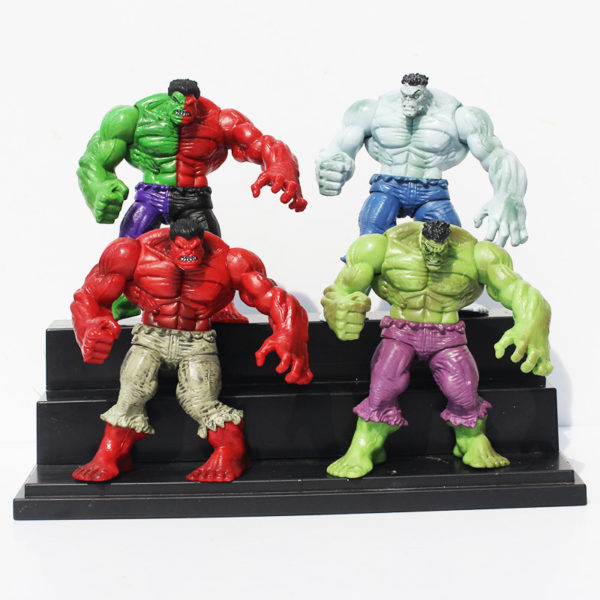 Hulk Action Figure Set 4 pcs Green, Red, Gray and Compound