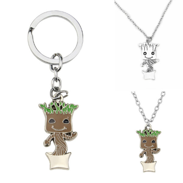[Jkela] Baby Groots Tree Man Figure Toys Keychain Pendant Guardians of Galaxy Dancing Movie Figures Toys Pendants Necklace gift 3