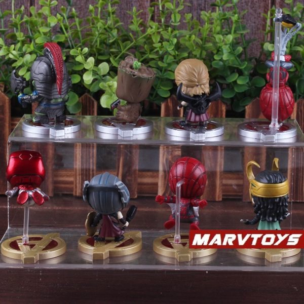 Avengers Infinity War Movie Mini Figures Spider Man Iron Man Loki Thor Hulk Groot Set 4