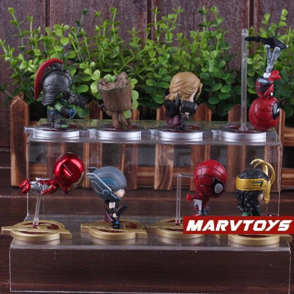 Avengers Infinity War Movie Mini Figures Spider Man Iron Man Loki Thor Hulk Groot Set 5