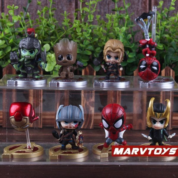 Avengers Infinity War Movie Mini Figures Spider Man Iron Man Loki Thor Hulk Groot Set of