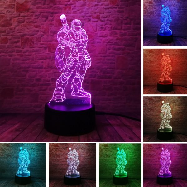 3.- Iron Man Bulbing Night Lamp Multi Color Changing 3D LED Lights (9 Different Lamps)