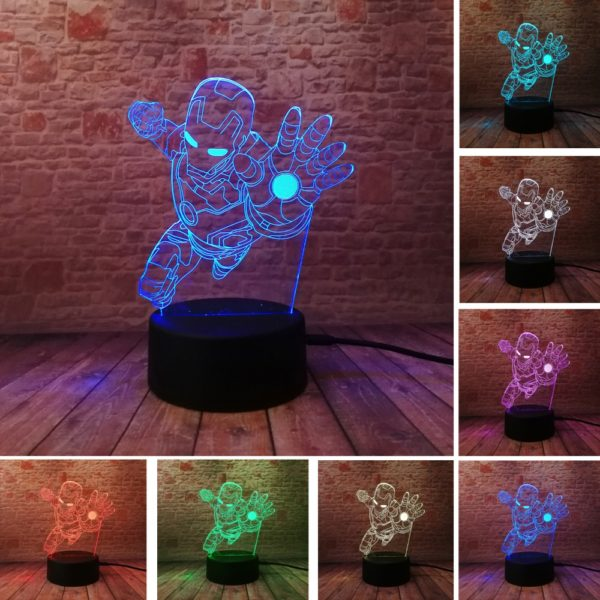 4.- Iron Man Bulbing Night Lamp Multi Color Changing 3D LED Lights (9 Different Lamps)