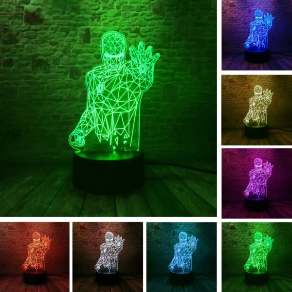 6.- Iron Man Bulbing Night Lamp Multi Color Changing 3D LED Lights (9 Different Lamps)