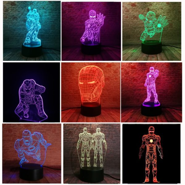 Iron Man Bulbing Night Lamp Multi Color Changing 3D LED Lights (9 Different Lamps)