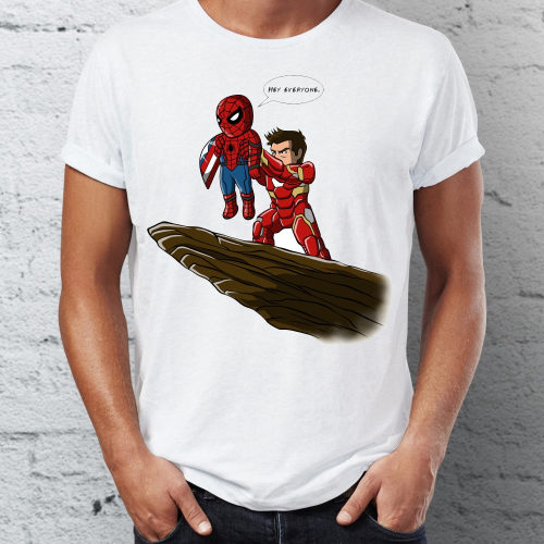 Spider Man Funny Lion King T Shirt for Men with Iron Man and Deadpool 1
