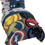 Marvel Superheroes Logo 7 Piece Full Size Bed Set Includes Comforter And Sheet Set