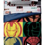 Marvel Superheroes Logo 7 Piece Full Size Bed Set Includes Comforter And Sheet Set 2