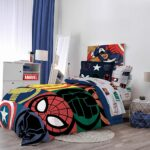 Marvel Superheroes Logo 7 Piece Full Size Bed Set Includes Comforter And Sheet Set 7